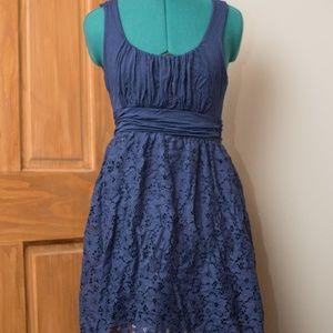 Blue Modcloth Midi Dress with Lace